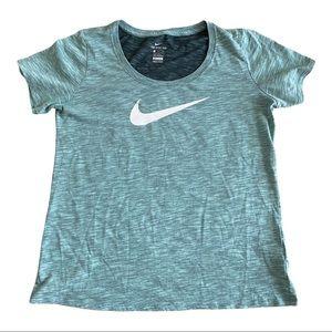Nike Tee Athletic-Cut Dri-Fit Green White Size L